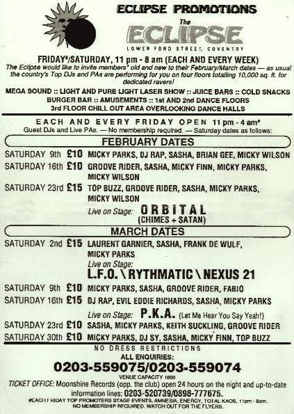 Flyer for The Eclipse Coventry Feb/March 1991