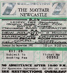 ticket for Sept 92